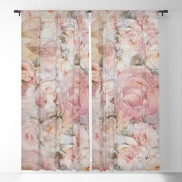 Vintage elegant blush pink collage floral typography Blackout Curtain