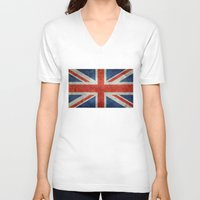 british flag V-neck T-shirts featuring UK British Union Jack flag retro style by Bruce Stanfield