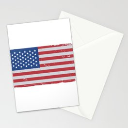 American flag worn Stationery Cards