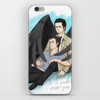 destiel iPhone & iPod Skins featuring Fluffy Muffly Destiel by bayobayo
