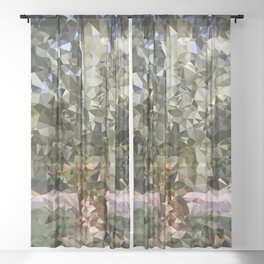 Canary Island Palm Low Poly Triangles Sheer Curtain