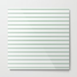 Mattress Ticking Wide Horizontal Striped Pattern in Moss Green and White Metal Print