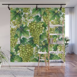 Watercolor bunches of white grapes hanging on the branch Wall Mural
