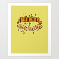 leslie knope Art Prints featuring Leslie Knope, Yellow by Illustrated by Jenny