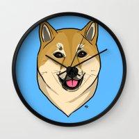 shiba Wall Clocks featuring Shiba Inu by Bleachydrew