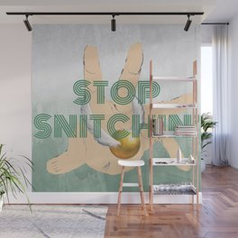 """Stop Golden Snitchin'"" Print Green & Silver 1/2 Wall Mural"