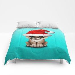 Christmas Cougar Wearing a Santa Hat Comforters