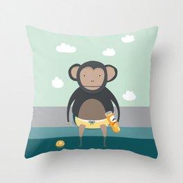 Monkey Eating Crisps Throw Pillow