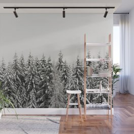 Winter Trees IV - Snow Capped Forest Adventure Nature Photography Wall Mural