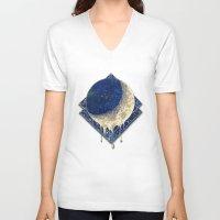 lunar V-neck T-shirts featuring Lunar Nebula by cosmicstories
