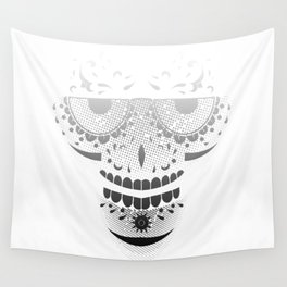 Sugar Skull - Day of the dead bw Wall Tapestry