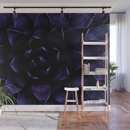 Deep Indigo Blue Succulent Wall Mural