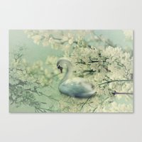 swan Canvas Prints featuring Swan by Ellen van Deelen