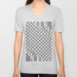 Distorted checkerboard Unisex V-Neck