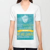 ravenclaw V-neck T-shirts featuring Wise Old Ravenclaw by MilkP