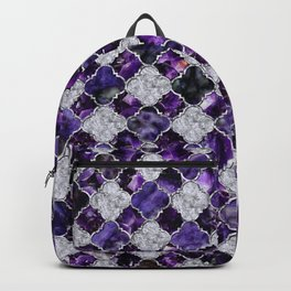 Oriental Pattern with Amethyst Clusters and silver Backpack