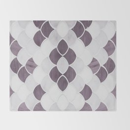 Moroccan Scalloped Flower Plum Throw Blanket
