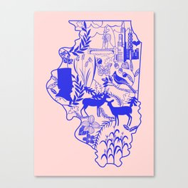 Illinois Wycinanki Pink and Blue Canvas Print