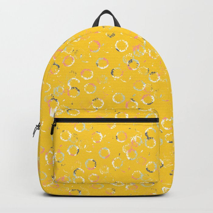 Polka Dots Stamps on Vivid Yellow Backpack
