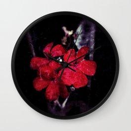 Red Petals floral design against a dark grunge background Wall Clock