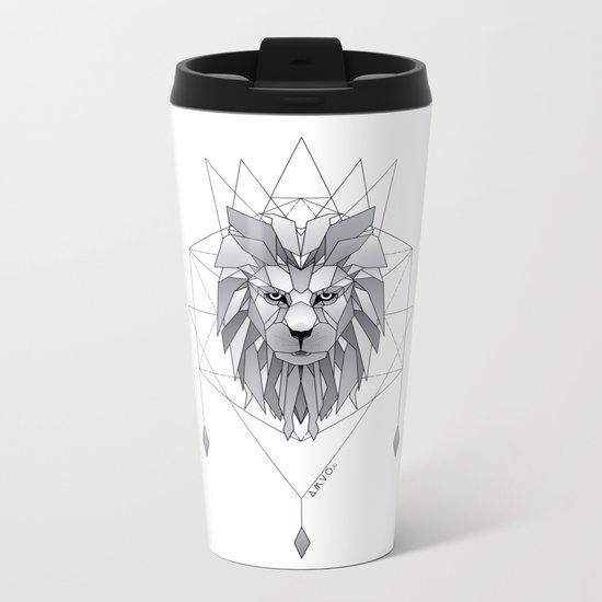 Geometric Lion Metal Travel Mug