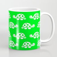 nursery Mugs featuring TORTOISE GREEN NURSERY PRINT by Sketchii Studio