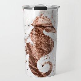 Rose gold seahorse marble Travel Mug