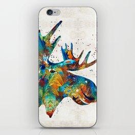 Colorful Moose Art - Confetti - By Sharon Cummings iPhone Skin