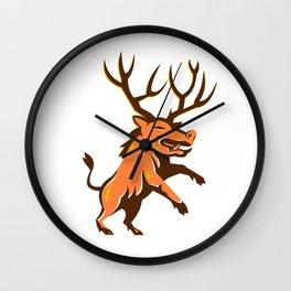 Razorback Antlers Prancing Retro Wall Clock