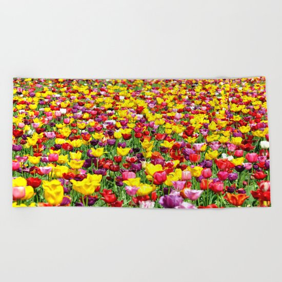 SEA OF TULIPS Beach Towel