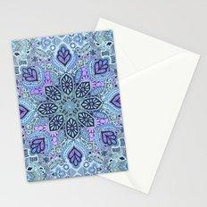 Navy Blue, Mint and Purple Boho Pattern  Stationery Cards