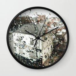 Uk bulding on a rainy day  Wall Clock