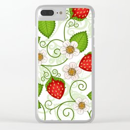 Strawberry fruit leaf flower floral star green red white Clear iPhone Case