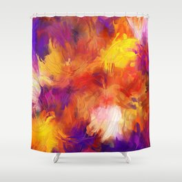 Composition #58 (purple, yellow and red) Shower Curtain