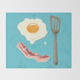 bacon & eggs, blue Throw Blanket