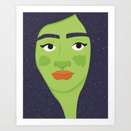 Space Geisha – Green Complexion Art Print