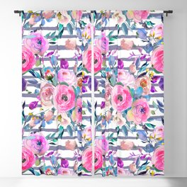 Pink mauve lilac hand painted watercolor roses floral stripes Blackout Curtain