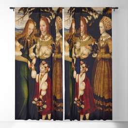 "Lucas Cranach the Elder ""Catherine altar, right wing Saints Dorothea, Agnes and Kunigunde"" Blackout Curtain"