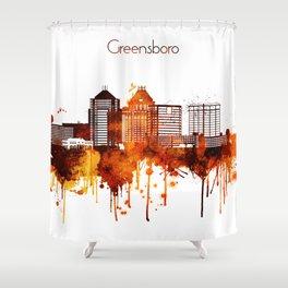 Greensboro North Carolina Red Yellow Skyline Shower Curtain