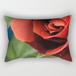 A Single, Solitary Elegant Red Rose Rectangular Pillow