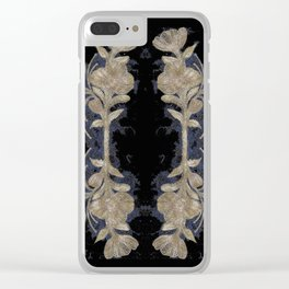 Poppies Goldish Gothic Clear iPhone Case
