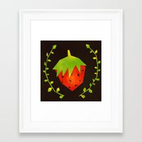 strawberry Framed Art Prints featuring Strawberry by Strawberringo