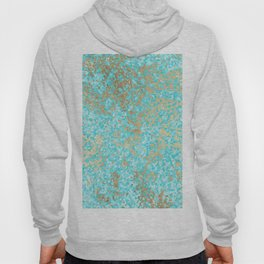 Abstract teal white faux gold modern pattern Hoody