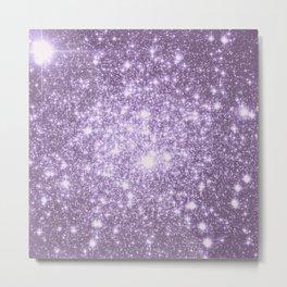 Lilac Galaxy Sparkle Stars Metal Print