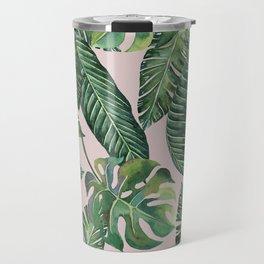Jungle Leaves, Banana, Monstera Pink #society6 Travel Mug