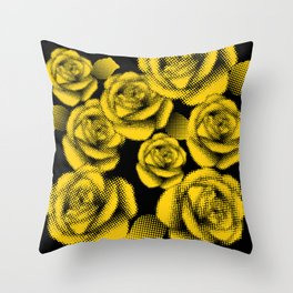 Yellow Halftone Roses Throw Pillow
