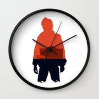 marty mcfly Wall Clocks featuring Marty! by JM Illustration