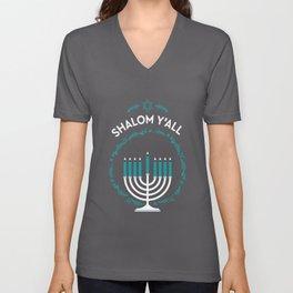 Shalom Y'all Hanukkah Menorah Unisex V-Neck