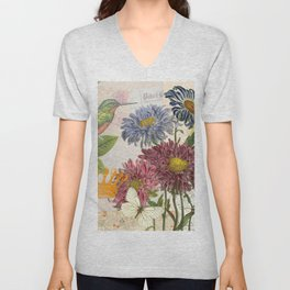 Dahlia Flowers with a Bird and a Crown Unisex V-Neck