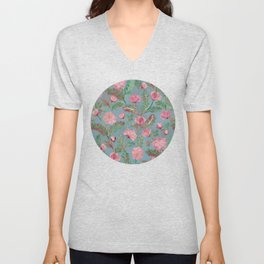 Soft Smudgy Pink and Green Floral Pattern Unisex V-Neck